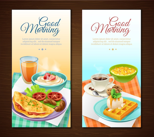 Bannières verticales de petit déjeuner Vecteur gratuit