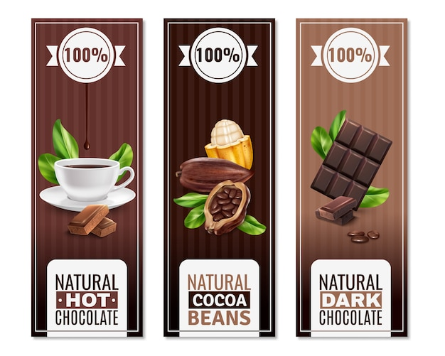 Bannières Verticales De Produits De Cacao Réalistes Vecteur gratuit