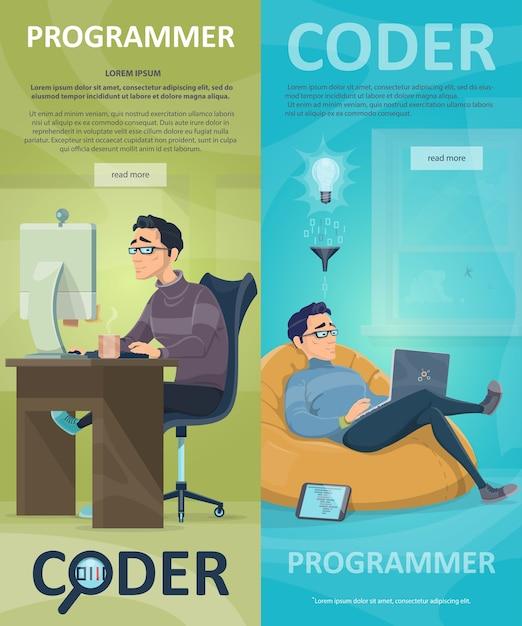 Bannières Verticales De Programmation Technologique Vecteur gratuit