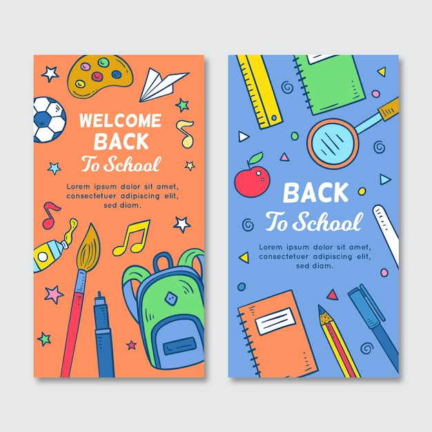 Bannières Verticales De Retour à L'école Vecteur gratuit