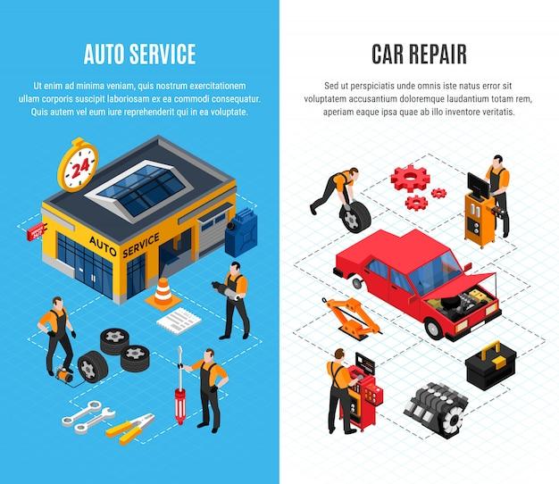 Bannières Verticales De Service De Voiture Sertie D'outils De Réparation Illustration Vectorielle Isolé Isométrique Vecteur gratuit