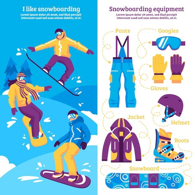 Bannières verticales de snowboard Vecteur gratuit