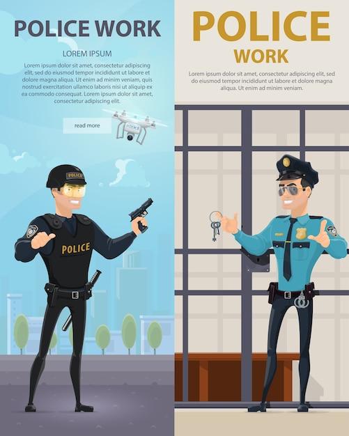 Bannières Verticales De Travail De Police Vecteur gratuit