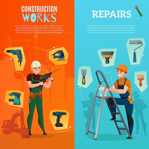 Bannières verticales des travailleurs de la construction Vecteur gratuit