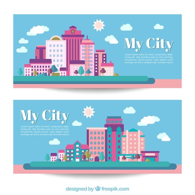 Bannières ville en design plat Vecteur gratuit