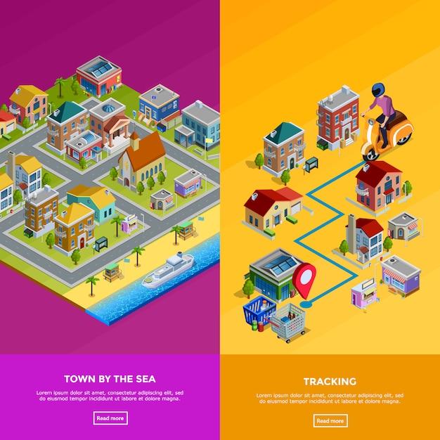 Bannières de ville isométrique Vecteur gratuit