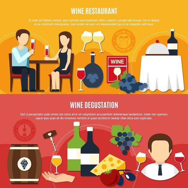 Bannières de vin plat Vecteur gratuit