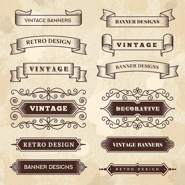 Bannières Vintage. Mariage S'épanouir Ornement Grunge Rubans Textures Tableau Noir Badges De Style Rétro. Vecteur Premium