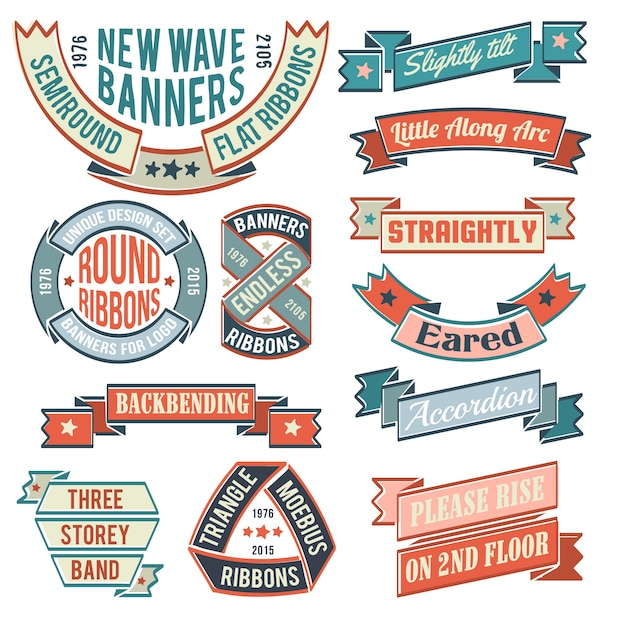 Bannières vintage, rubans, autocollants, avec des exemples d'inscriptions. logos insolites de forme inhabituelle. Vecteur Premium