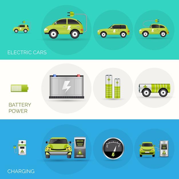 Bannières de voitures électriques Vecteur gratuit