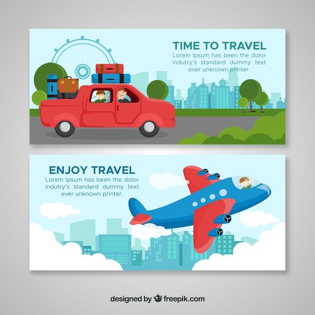 Bannières de voyage coloré avec un design plat Vecteur gratuit