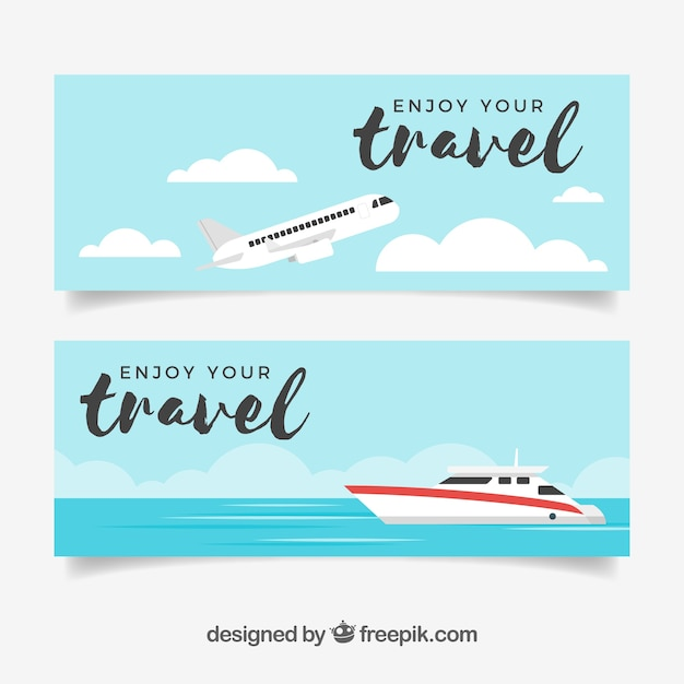 Bannières de voyage avec un design plat Vecteur gratuit