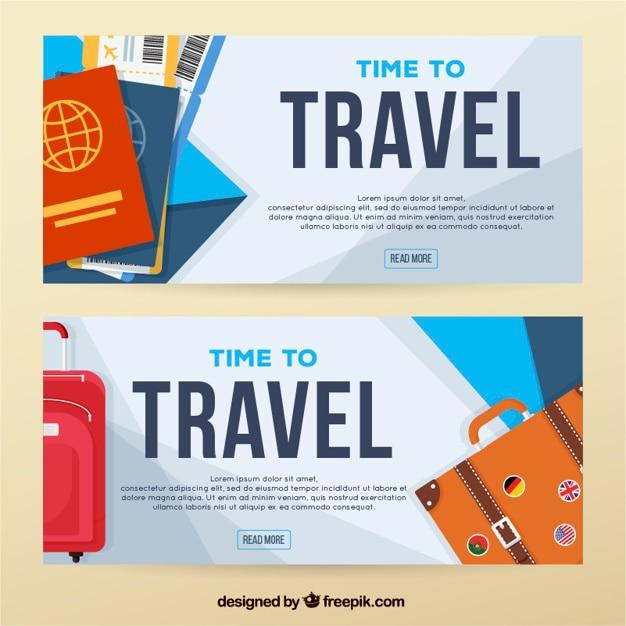 Bannières de voyage avec des passeports et des bagages Vecteur gratuit