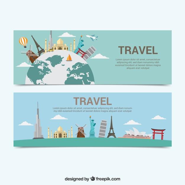 Bannières de voyage avec plusieurs monuments Vecteur gratuit