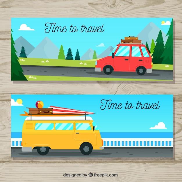 Bannières de voyage avec des transports dessinés à la main Vecteur gratuit