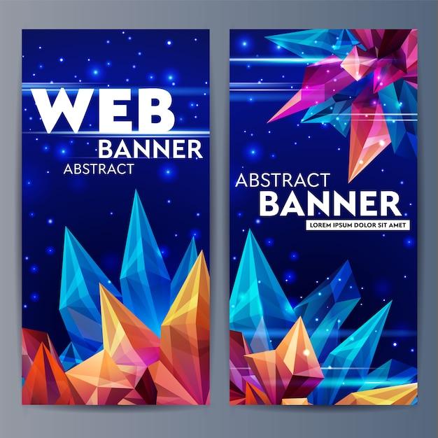 Bannières web avec des cristaux à facettes. astéroïde de verre dans l'espace. origami figure géométrique abstraite sur un bleu foncé. bannière futuriste. illustration de style 3d Vecteur Premium