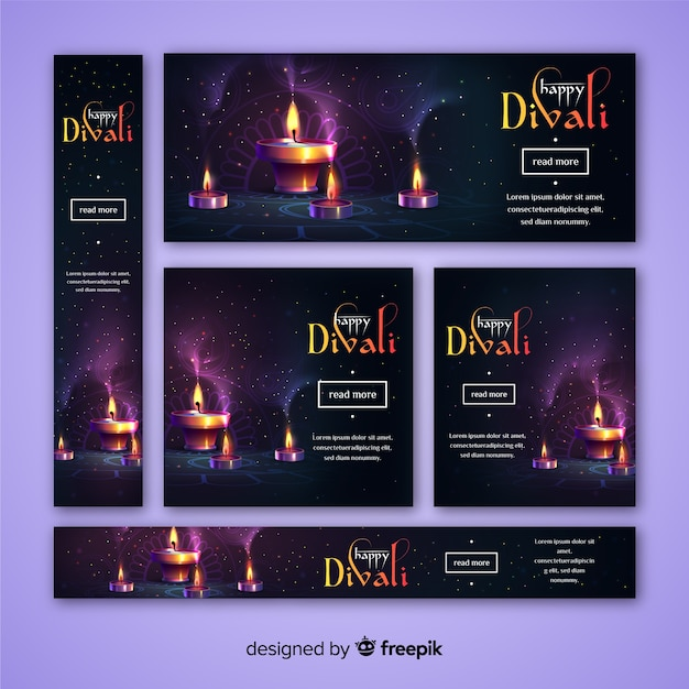 Bannières web diwali de conception réaliste Vecteur gratuit