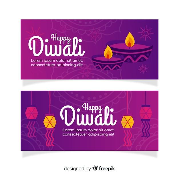 Bannières web diwali dessinés à la main Vecteur gratuit