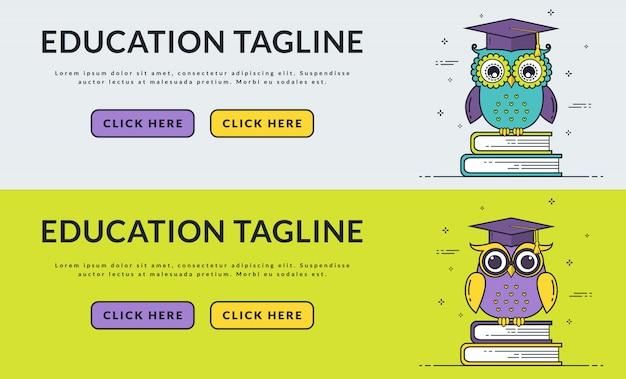 Bannières web de l'éducation avec le hibou intelligent. Vecteur Premium