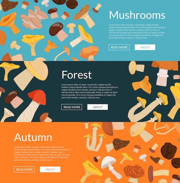 Bannières Web Horizontales Colorées De Jeu Avec Champignons De Dessin Animé Vecteur Premium