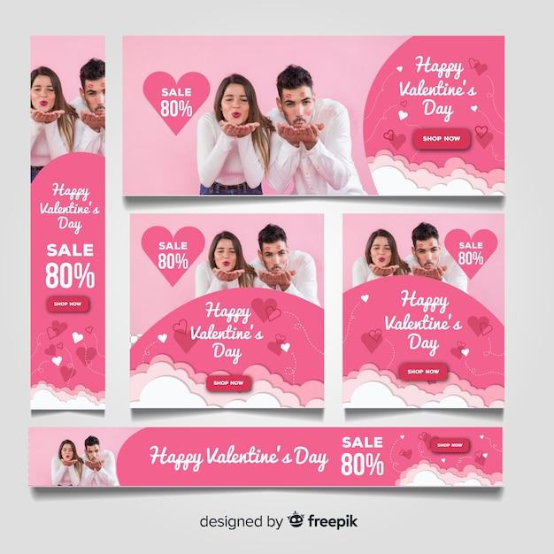 Bannières web de vente de saint valentin Vecteur gratuit
