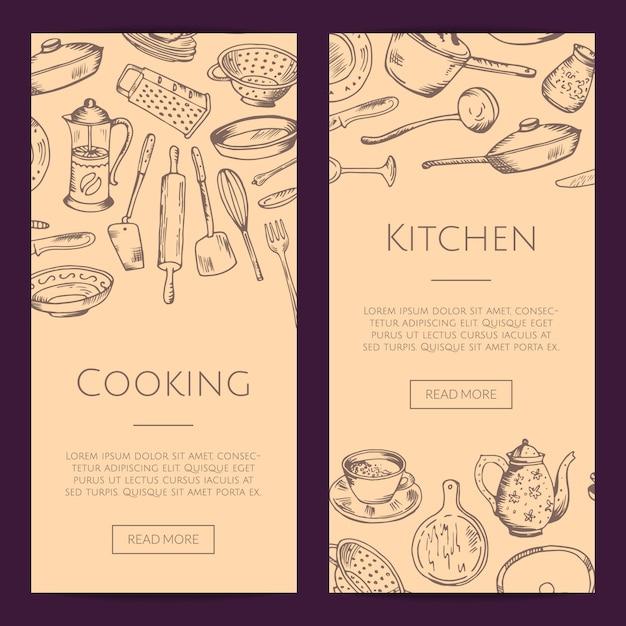 Bannières Web Verticales De Sertie D'ustensiles De Cuisine Dessinés à La Main Vecteur Premium