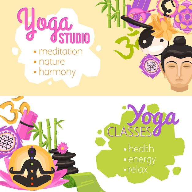 Bannières de yoga horizontales Vecteur gratuit