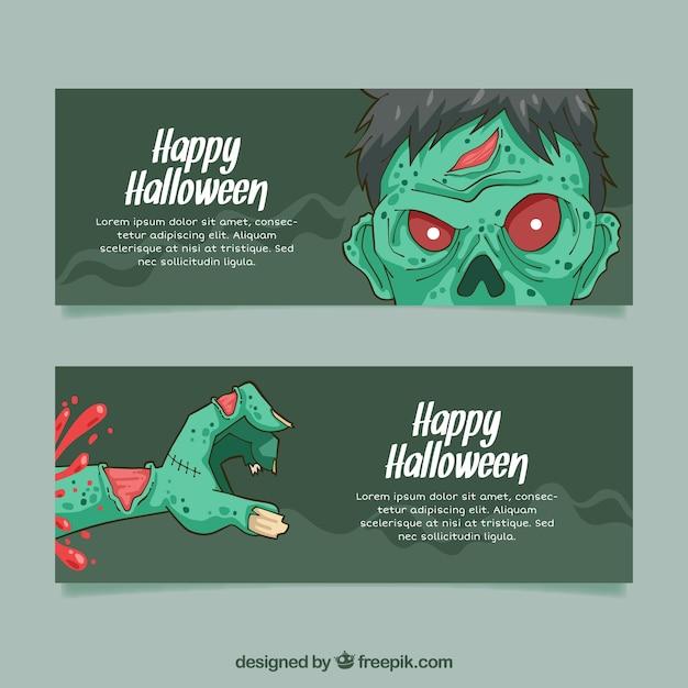 Bannières de zombies de halloween Vecteur gratuit