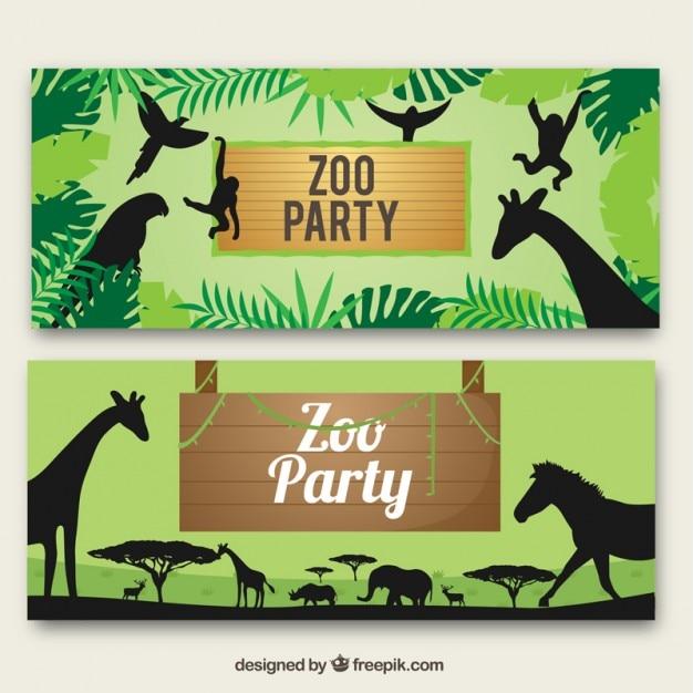 Bannières zoo avec des animaux sauvages silhouettes Vecteur gratuit