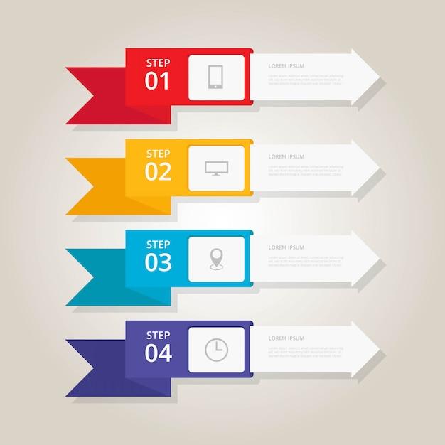 Banniers de marche infographiques plats Vecteur Premium