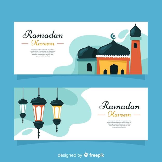 Bannners créatifs ramadan Vecteur gratuit
