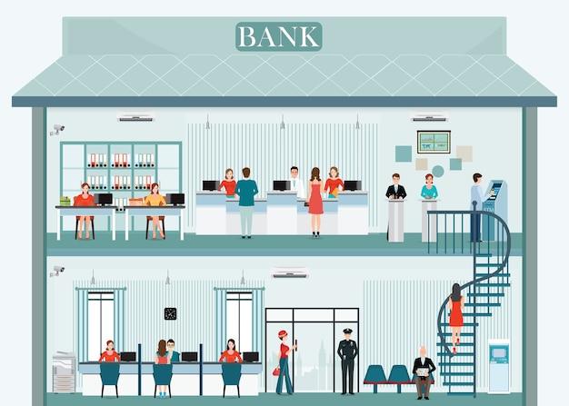 Banque bâtiment extérieur et intérieur avec service au comptoir Vecteur Premium