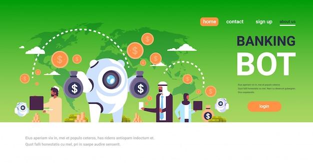 Banque Bot Landing Page Avec Des Personnes Arabes Vecteur Premium