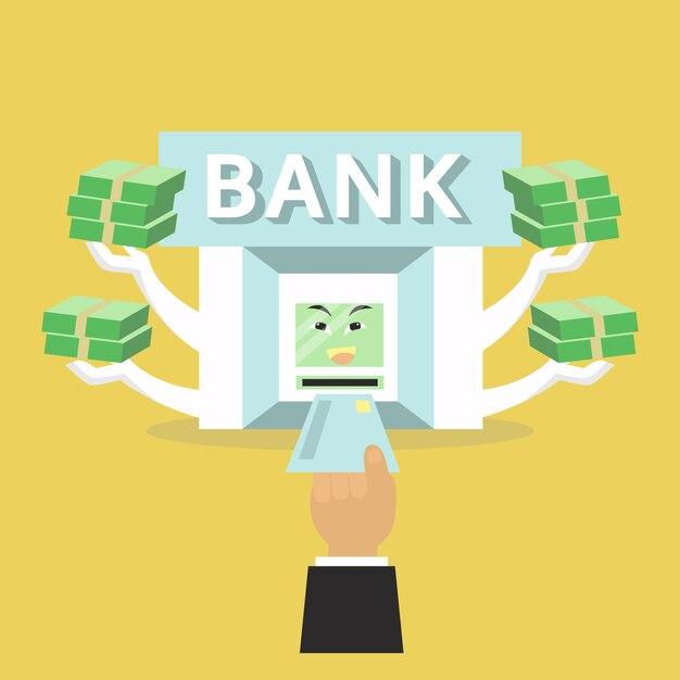 La banque donnera de l'argent pour l'homme Vecteur Premium