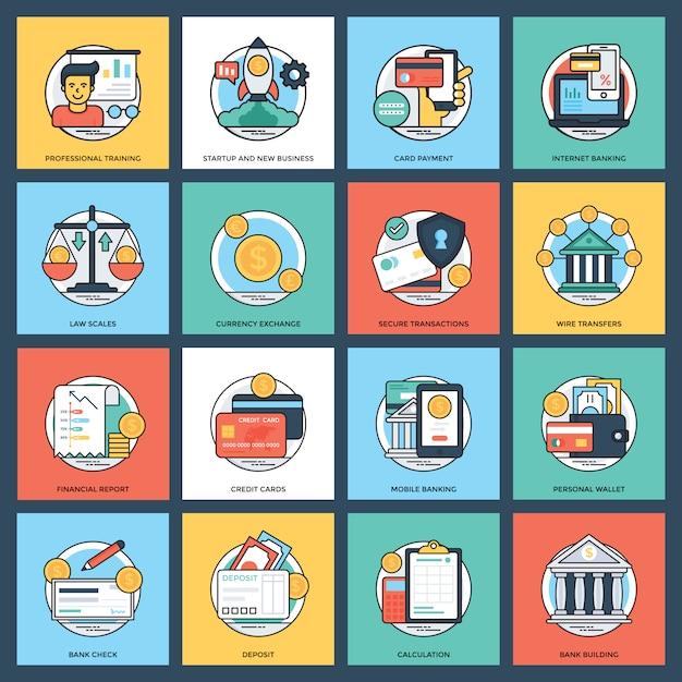 Banque et finance icon set Vecteur Premium