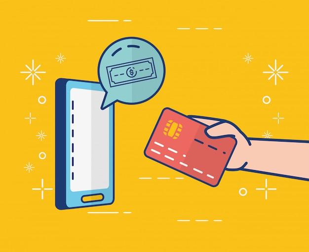 Banque en ligne sur smartphone Vecteur gratuit