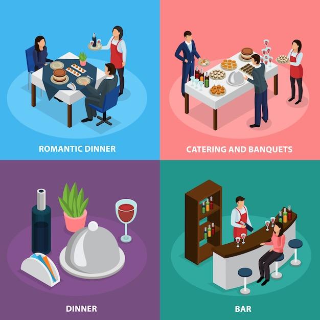 Banquet Traiteur Isométrique Vecteur gratuit