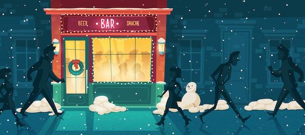 Bar à bière de vecteur en hiver, le soir de noël Vecteur gratuit