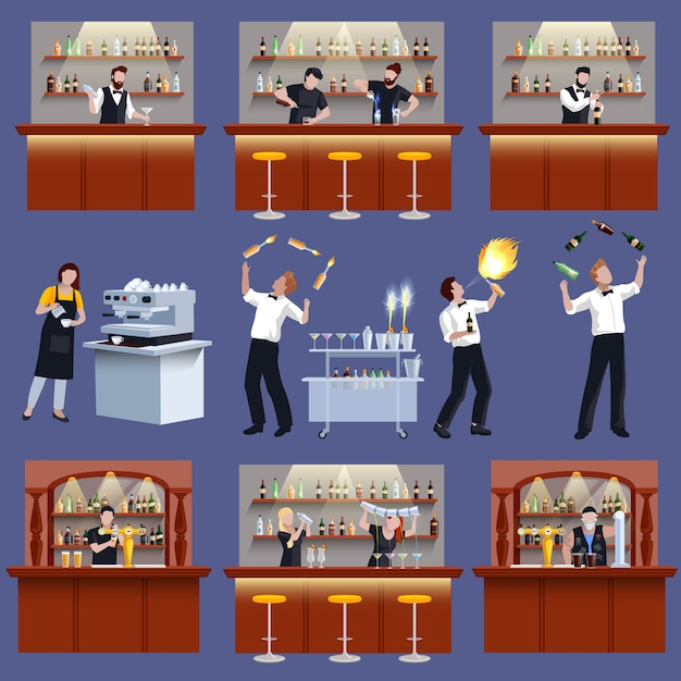 Bar icon set Vecteur gratuit