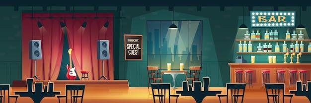 Bar Musical, Pub à La Bière Avec Intérieur De Dessins Animés Vecteur gratuit