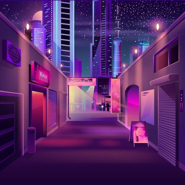 Bar De Nuit Dans Le Dessin Animé De La Métropole Moderne Vecteur gratuit