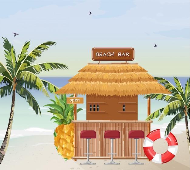 Bar de plage d'été Vecteur Premium