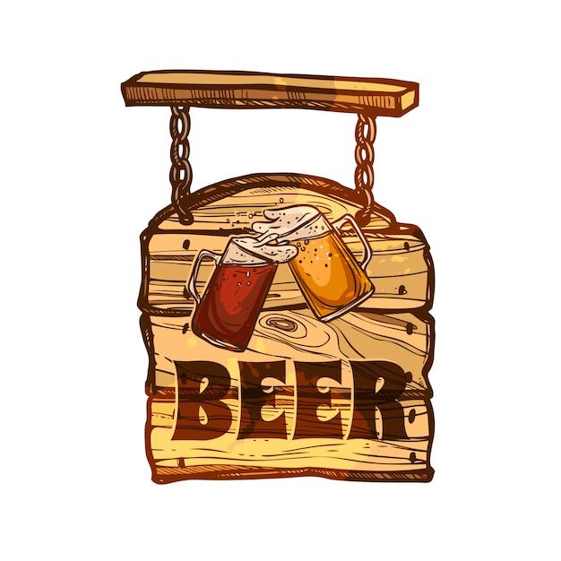 Bar sign sur planche de bois Vecteur gratuit
