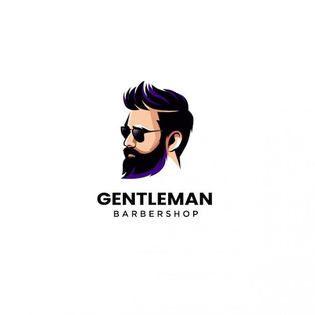 Barbe Man Barber Shop Logo Illustration Vecteur Vecteur Premium