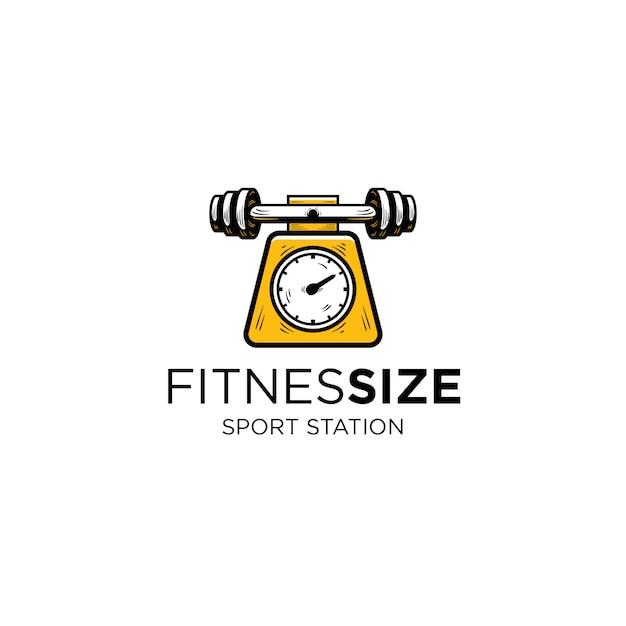 Barbeau de modèle de logo d'instrument de mesure de fitness et de poids Vecteur Premium