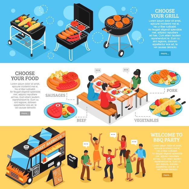 Barbecue 3d bannières isométriques Vecteur gratuit