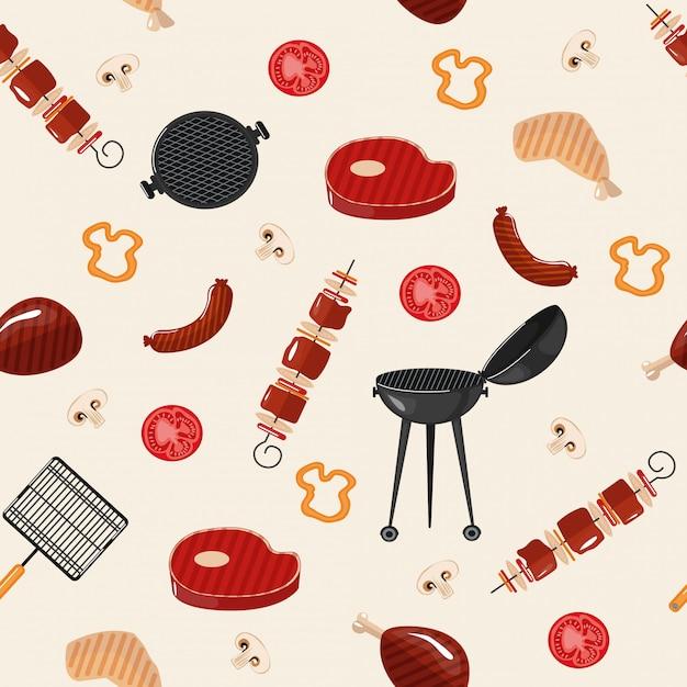 Barbecue barbecue seamless pattern Vecteur Premium