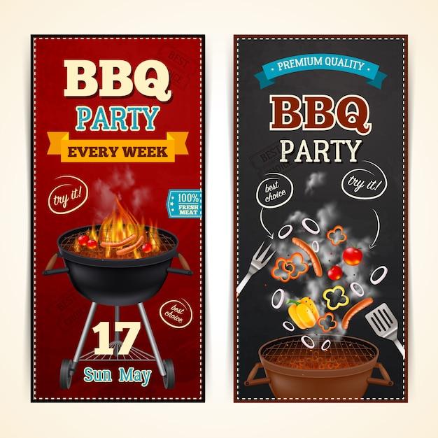 Barbecue party banners set Vecteur gratuit