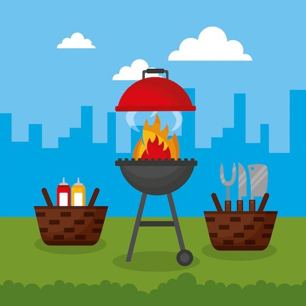 Barbecue En Plein Air Vecteur gratuit