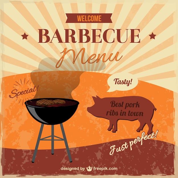Barbecue Rétro Sans Invitation Vecteur gratuit